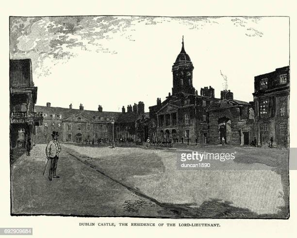 dublin castle, 19th century - dublin castle dublin stock illustrations