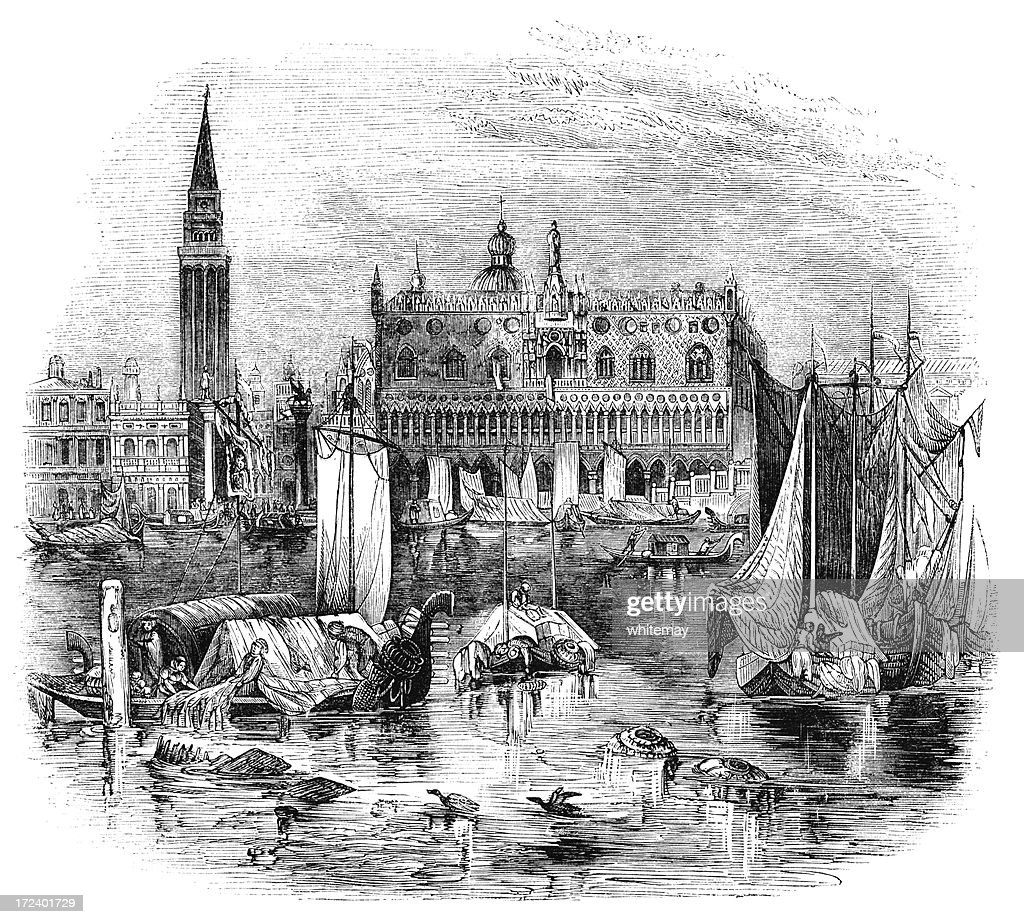 Ducal Palace and Campanile, Venice (Victorian woodcut) : stock illustration