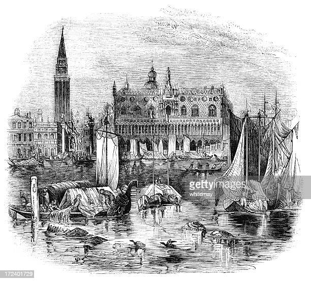 Ducal Palace and Campanile, Venice (Victorian woodcut)