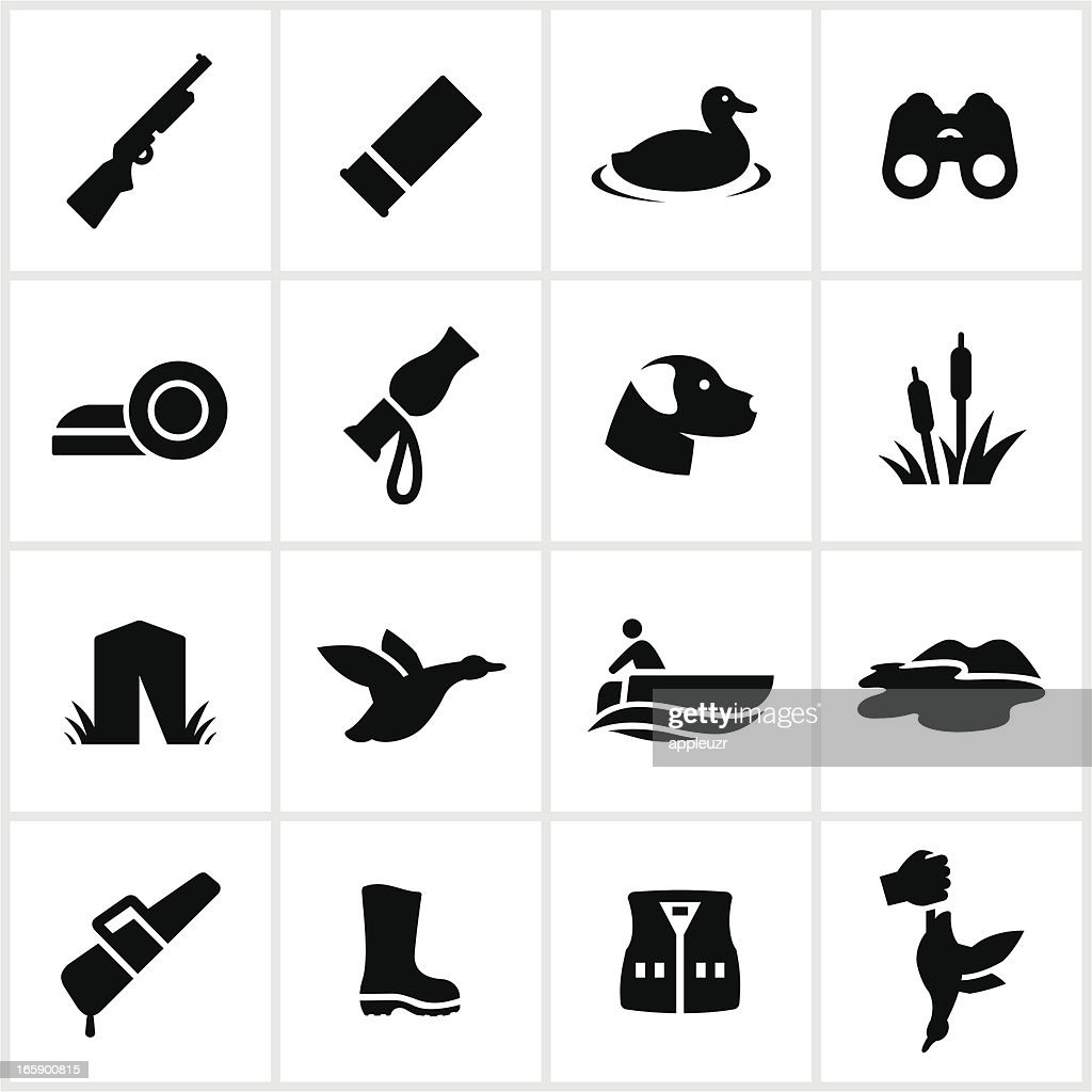 Duck Hunting Icons : stock illustration
