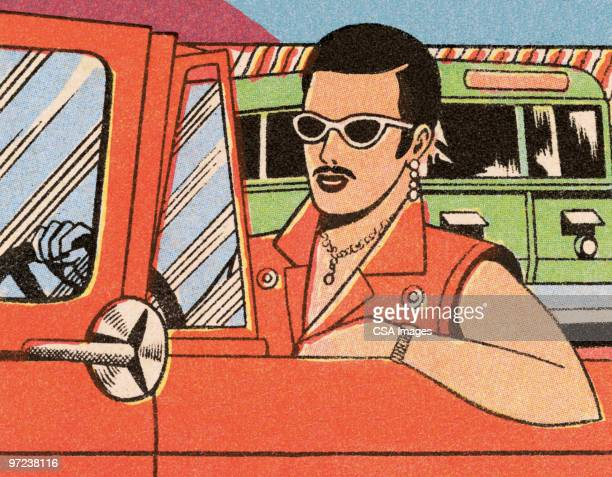 dude driving - sunglasses stock illustrations