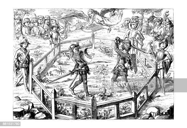 duel, 15th century - circa 15th century stock illustrations, clip art, cartoons, & icons