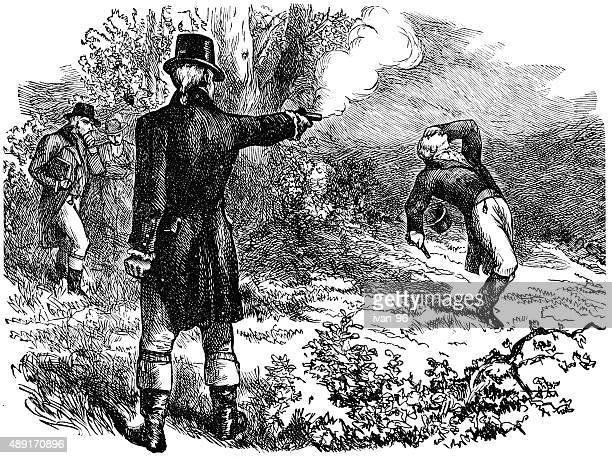 duel between burr and hamilton - alexander hamilton stock illustrations