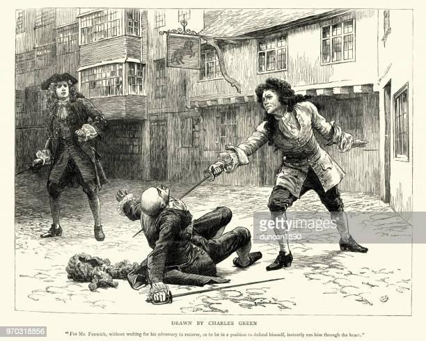 ilustrações de stock, clip art, desenhos animados e ícones de duel, sword fight bewteen two 18th century gentlemen - luta de espadas