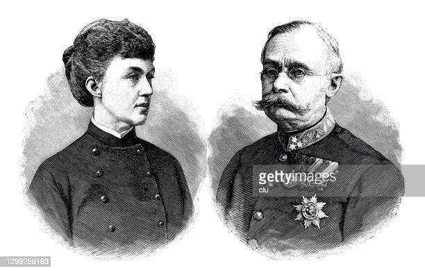 adolf zu nassau, regent von luxemburg und seine frau - duke stock-grafiken, -clipart, -cartoons und -symbole