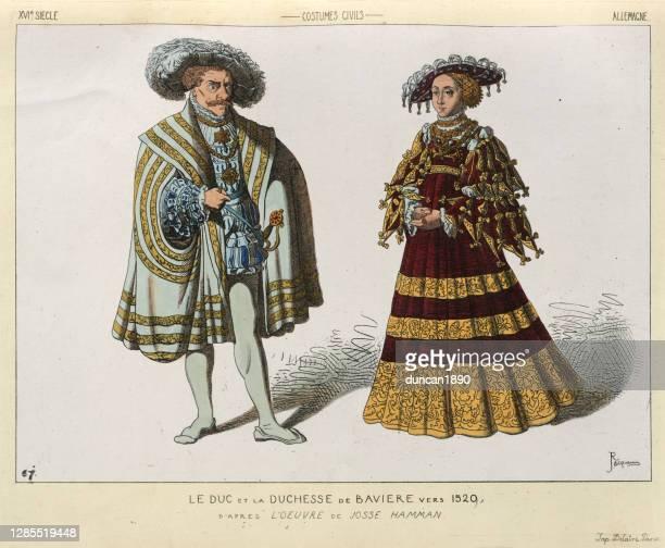 bildbanksillustrationer, clip art samt tecknat material och ikoner med hertig och hertiginna av bayern, 1500-tal, perioddräkter, mode - duke