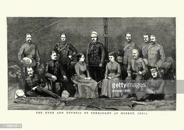 stockillustraties, clipart, cartoons en iconen met hertog en hertogin van connaught in meerut, india, 19de eeuw - duke