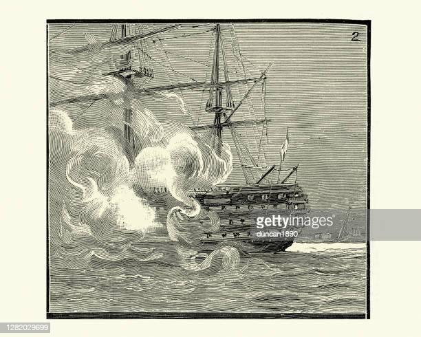 hms duke of wellington, firing a slaute, 19th century - bang boat stock illustrations