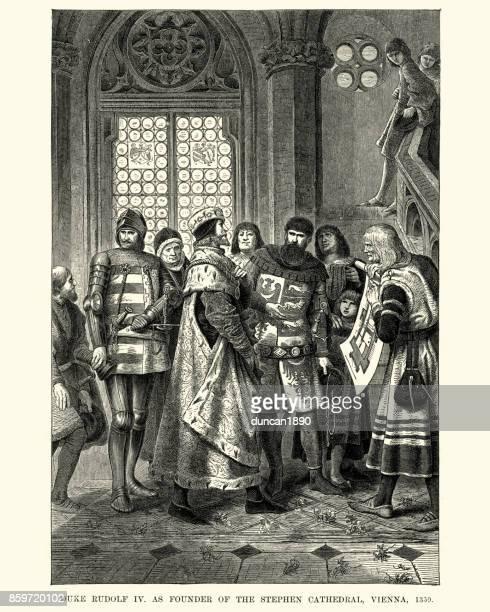 bildbanksillustrationer, clip art samt tecknat material och ikoner med hertig ridolf iv som grundare av stephen katedralen, vienna - duke