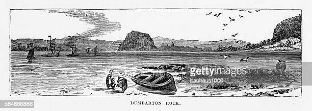 dumbarton rock in dumbarton, scotland victorian engraving, circa 1840 - clyde river stock illustrations, clip art, cartoons, & icons