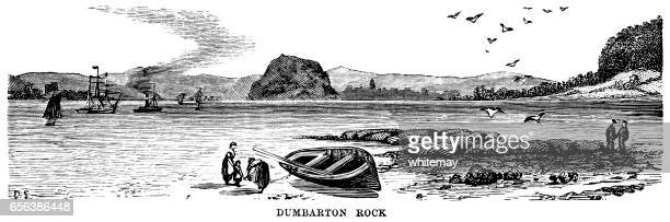 dumbarton rock, scotland (victorian engraving) - clyde river stock illustrations, clip art, cartoons, & icons