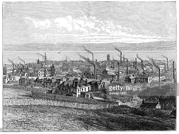 ilustraciones, imágenes clip art, dibujos animados e iconos de stock de dundee en el siglo xix - revolucion industrial