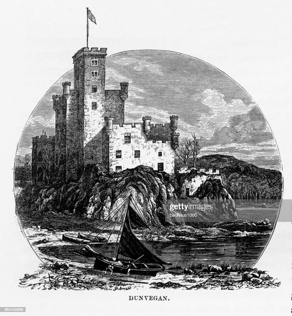 Dunvegan Castle, Isle of Skye in Hebrides, Scotland Victorian Engraving, 1840 : stock illustration
