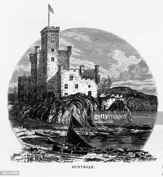 dunvegan castle, isle of skye in hebrides, scotland victorian engraving, 1840 - castle stock illustrations, clip art, cartoons, & icons
