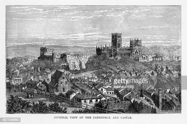 Durham Cathedral and Durham Castle, Durham, England Victorian Engraving, 1840