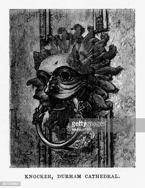 illustrations, cliparts, dessins animés et icônes de cathédrale de durham à durham, en angleterre victorienne gravure, 1840 - marteaudeporte
