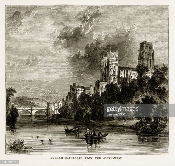 durham cathedral in durham, england victorian engraving, 1840 - northeastern england stock illustrations, clip art, cartoons, & icons