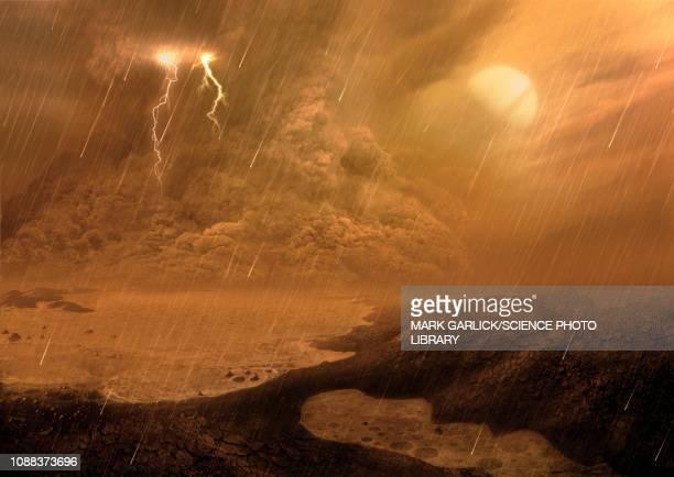 dust storm on titan, illustration - rain stock illustrations