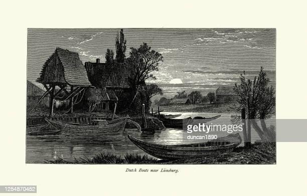 dutch boats on river near luneburg, germany 19th century - lüneburg stock illustrations