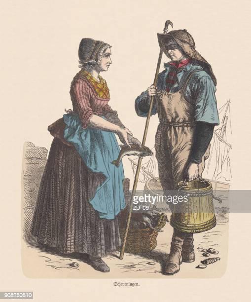 オランダ衣装 (スケベニンゲン) 19 世紀、手彩色木版出版 c.1880 - スヘフェニンゲン点のイラスト素材/クリップアート素材/マンガ素材/アイコン素材