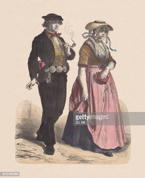 Dutch costume, 19th century, hand-colored wood engraving, published c.1880