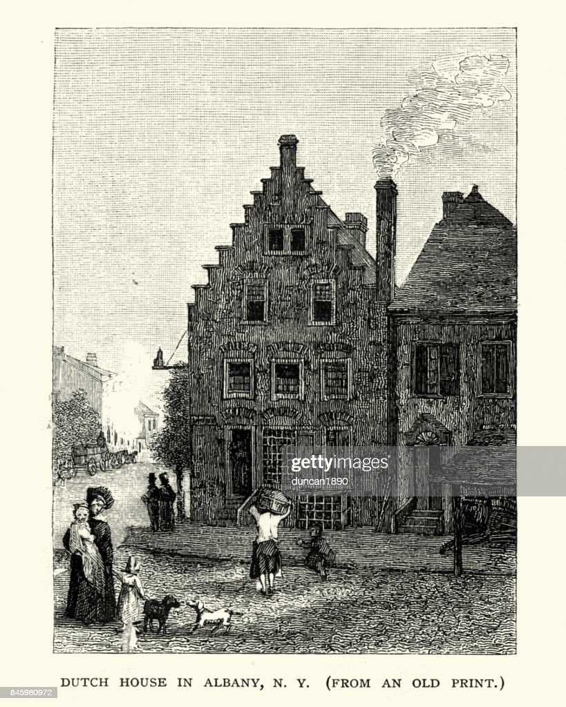Dutch House in Albany, New York, 19th Century : stock illustration