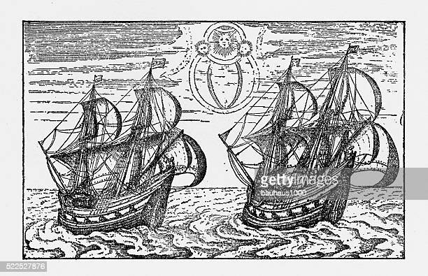Dutch Merchant Ships from the 16th Century, Victorian Illustration