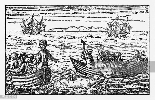 Dutch Navigators Hunting Polar Bears in the Northeast Passage Illustration