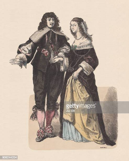 dutch nobility, middle 17th century, hand-colored wood engraving, published c.1880 - 17th century stock illustrations, clip art, cartoons, & icons