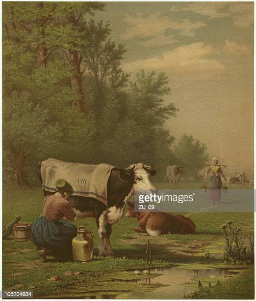 dutch pasture - by richard burnier (1826-1884), lithograph, published 1873 - milking stock illustrations, clip art, cartoons, & icons