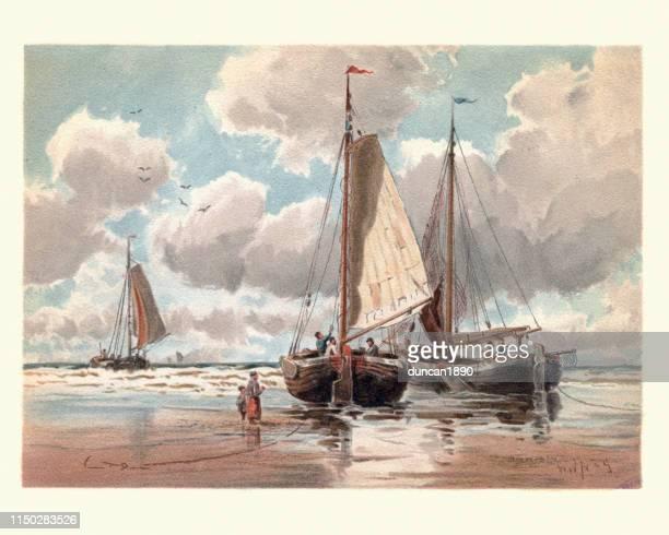 低潮、19世紀にオランダのピンクのボート - オランダ文化点のイラスト素材/クリップアート素材/マンガ素材/アイコン素材