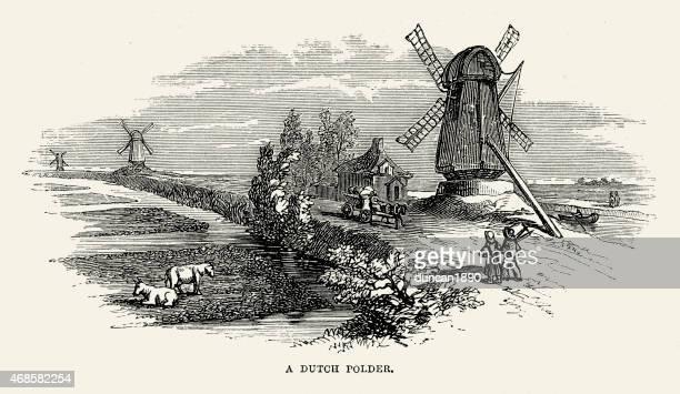 ilustraciones, imágenes clip art, dibujos animados e iconos de stock de pólder neerlandés y molino de viento del siglo xix - molino de viento