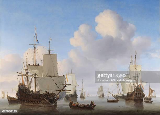 dutch ships in a calm, by willem van de velde - renaissance stock-grafiken, -clipart, -cartoons und -symbole
