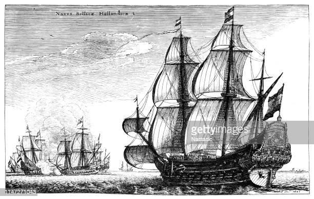 dutch warships - 1600s stock illustrations