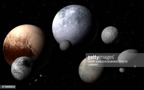 dwarf planets and moons, illustration - solar system stock illustrations