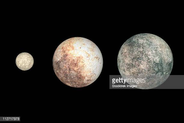 dwarf planets ceres, pluto, and eris. - pluto dwarf planet stock illustrations
