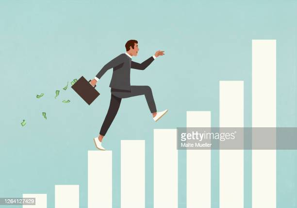 eager businessman with briefcase of money running up ascending bar graph - opportunity stock illustrations