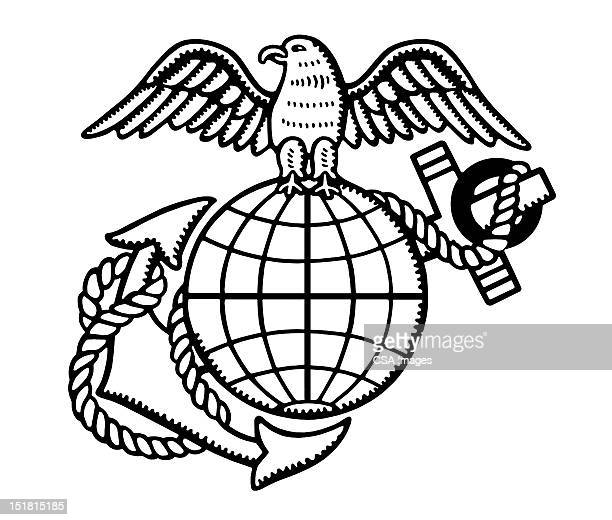 eagle, anchor and globe - military stock illustrations