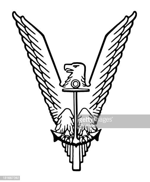 eagle and anchor - bald eagle stock illustrations