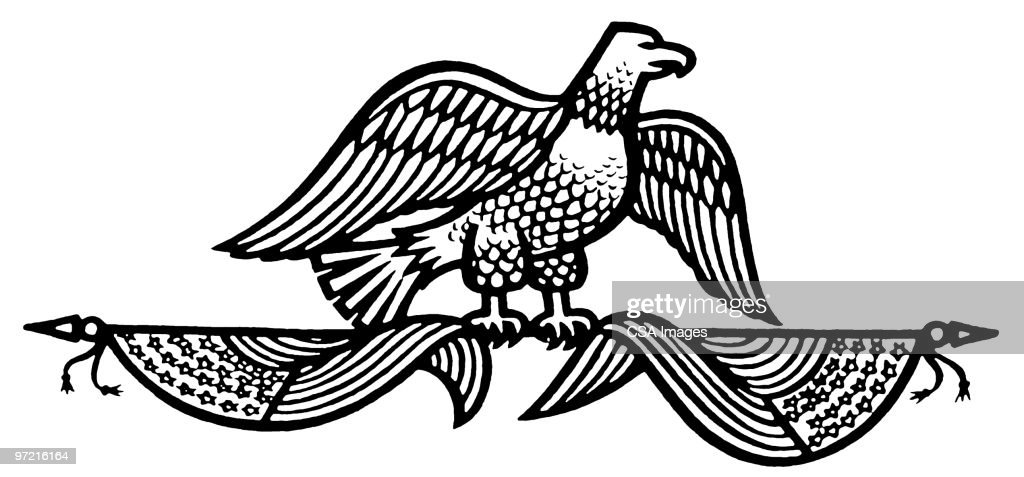 Eagle on Two Flags : Stock Illustration