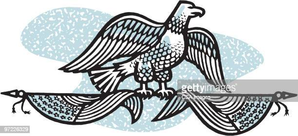 eagle on two flags - national flag stock illustrations