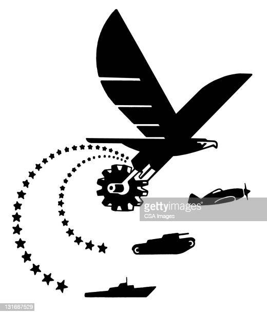 eagle, plane, tank and ship - army stock illustrations
