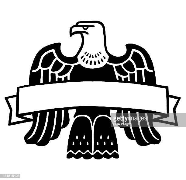 eagle with banner - bald eagle stock illustrations