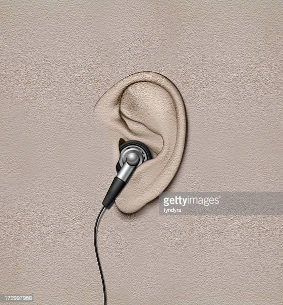 ear with phone - ear stock illustrations, clip art, cartoons, & icons