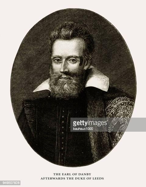 earl of danby, duke of leeds, english victorian engraving, 1887 - heroin stock illustrations, clip art, cartoons, & icons