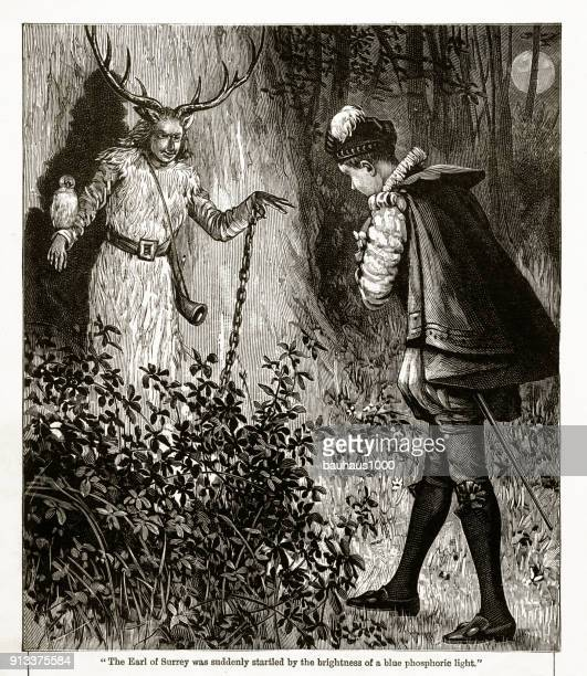 Earl of Surrey With a Ghost Victorian Engraving