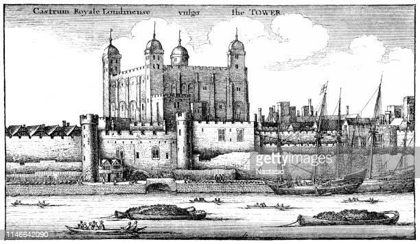 テムズ川ロンドンを横切って見たロンドン塔の17世紀初頭の挿絵 - テムズ川点のイラスト素材/クリップアート素材/マンガ素材/アイコン素材
