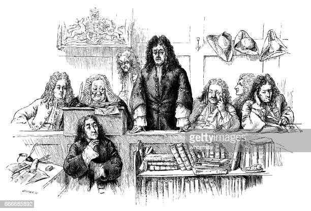 early 18th century courtroom scene - courthouse stock illustrations, clip art, cartoons, & icons