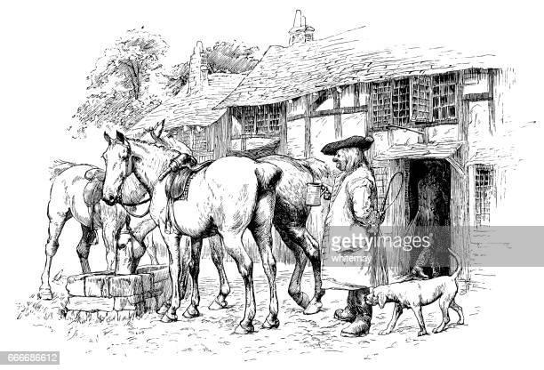 early 18th century man outside an inn - inn stock illustrations