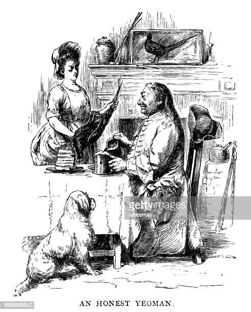 early 18th century man pouring a tankard of ale - ale stock illustrations